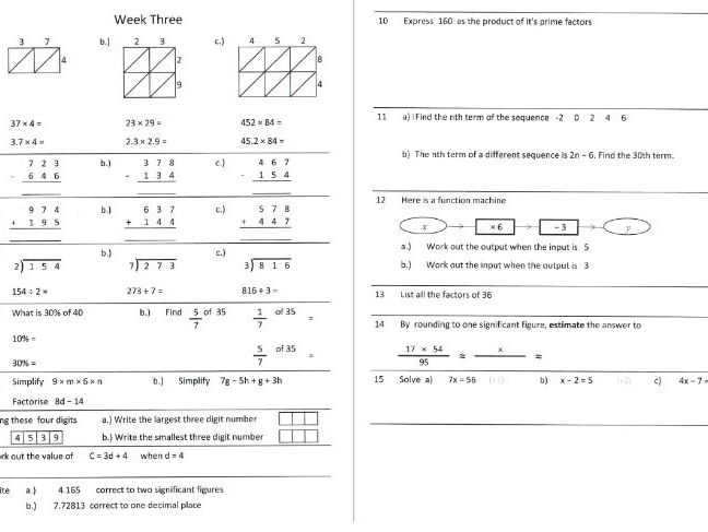 GCSE maths homework booklet for students working at below Grade 4.  Seven  week booklet