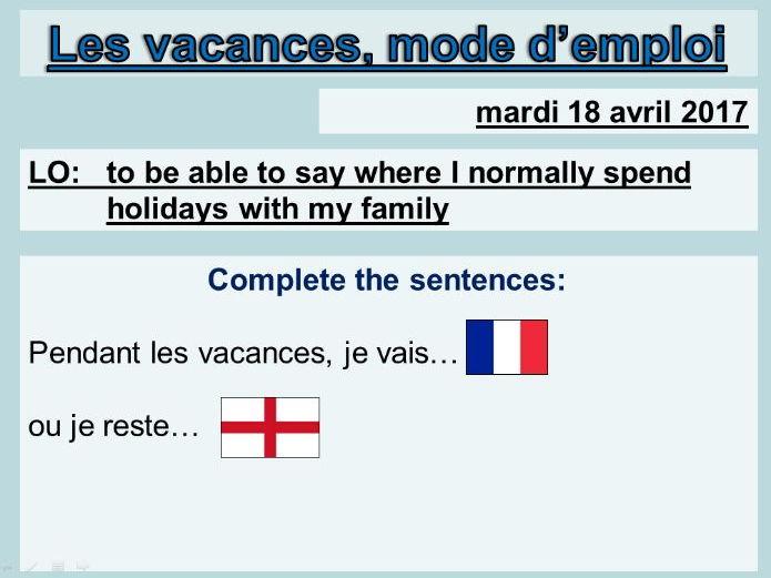Les vacances, mode d'emploi (2 lessons) - Studio 1 Module 5 Unit 1
