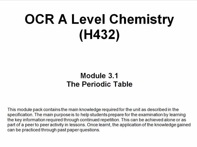 Ocr a level chemistry h432 module 31 the periodic table by cover image urtaz Images