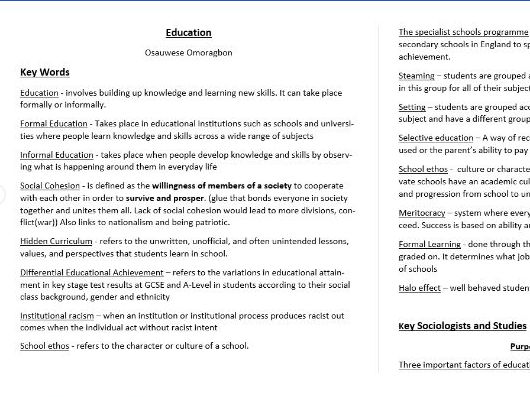 GCSE Sociology - Education A* Standard extremely detailed Revison Notes