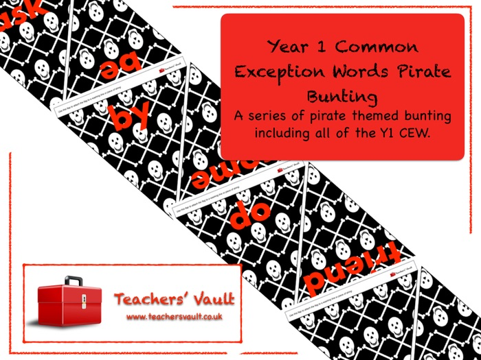 Y1 Common Exception Words Pirate Bunting