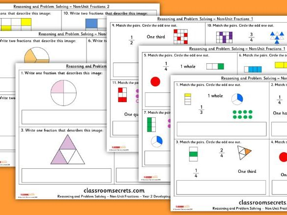 Year 2 Non-Unit Fractions Block 4 Reasoning and Problem Solving Pack