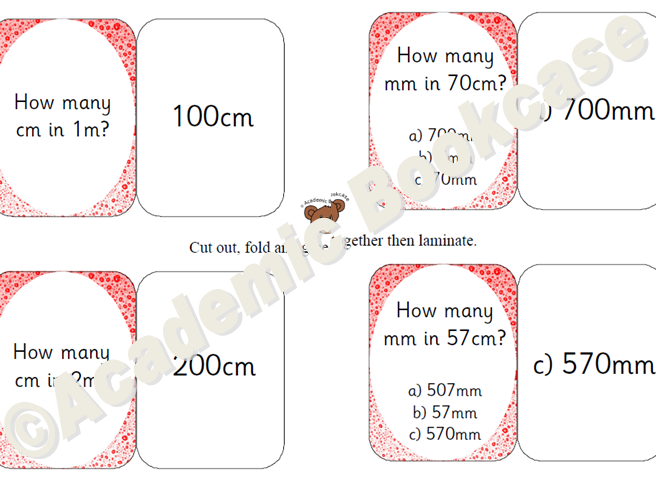 Self check maths questions flashcards - measures