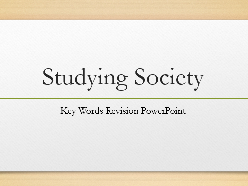 Studying Society Key Words Powerpoint