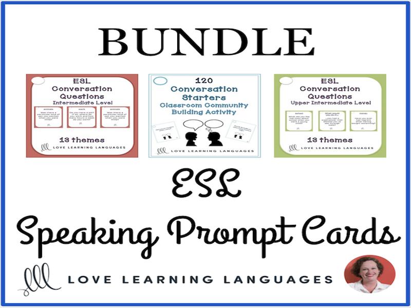 ESL conversation starter prompt cards - Beginner to Advanced Levels