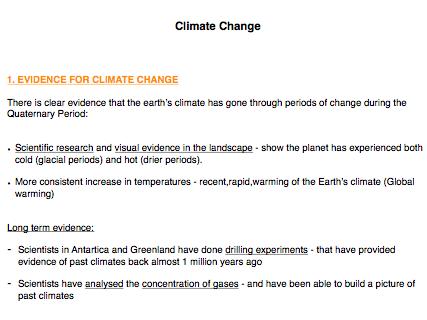 GEOG AQA 9-1 - Climate change