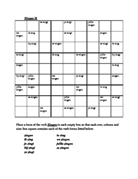 Zingen Dutch verb Sudoku