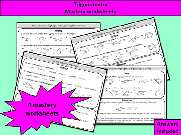 Trigonometry - mastery worksheets