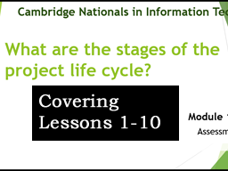 OCR CAMBRIDGE NATIONAL in INFORMATION TECHNOLOGIES LEVEL 1/2 (Lessons 1-10)