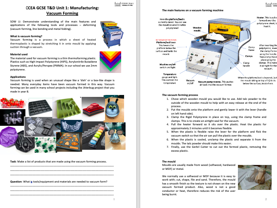 CCEA GCSE T&D Unit 1: Manufacturing: Vacuum Forming (PP, notes, poster)