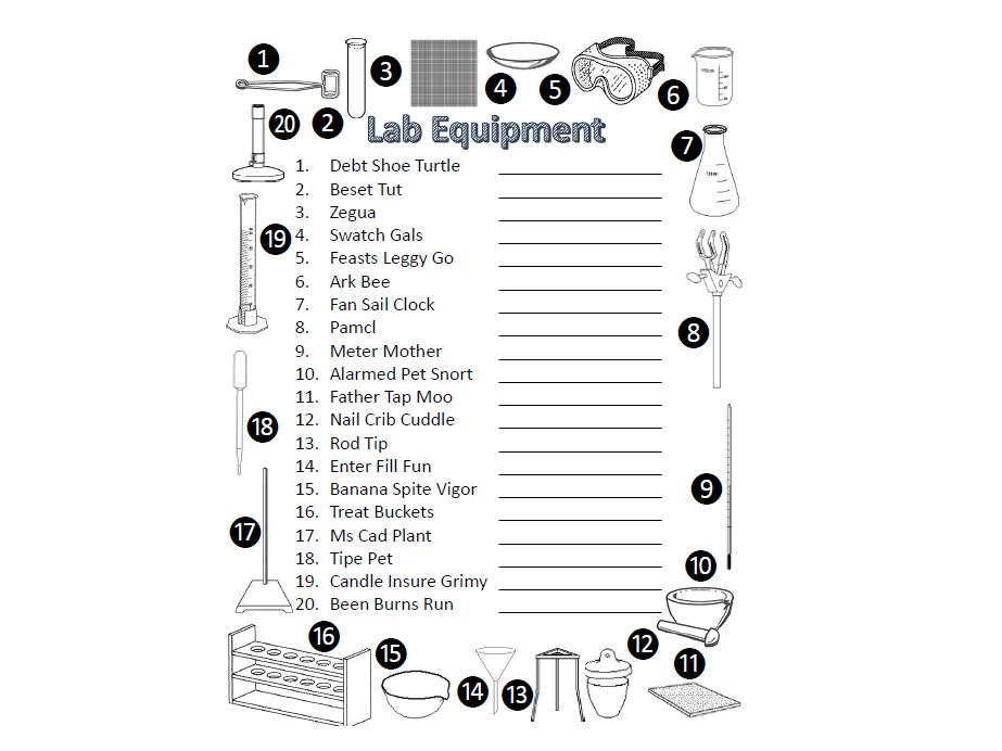 Lab equipment anagrams