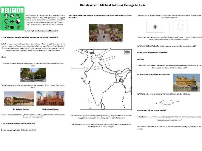 A Passage to India -  Himalaya with Michael Palin - Worksheet to support the BBC Documentary