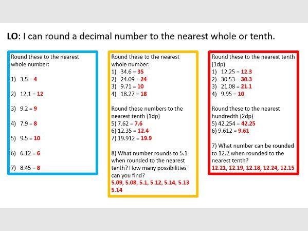 Rounding decimals whole lesson