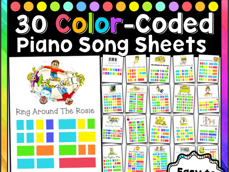 Easy Piano Songs, 30 Color-Coded Song Sheets