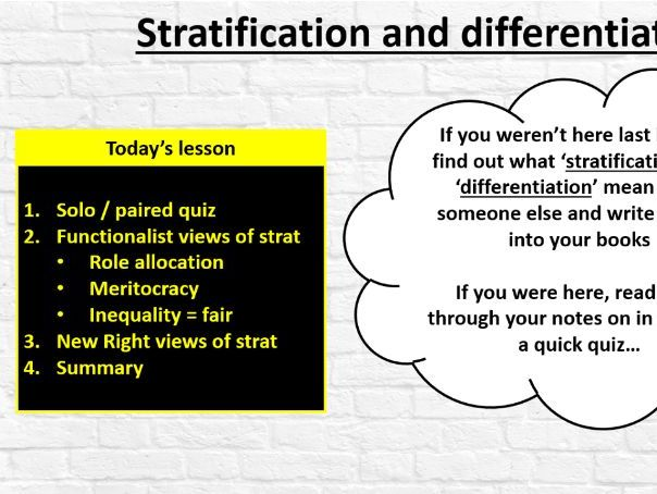 GCSE Sociology (Eduqas / WJEC) - Stratification and Differentiation: Functionalism and New Right