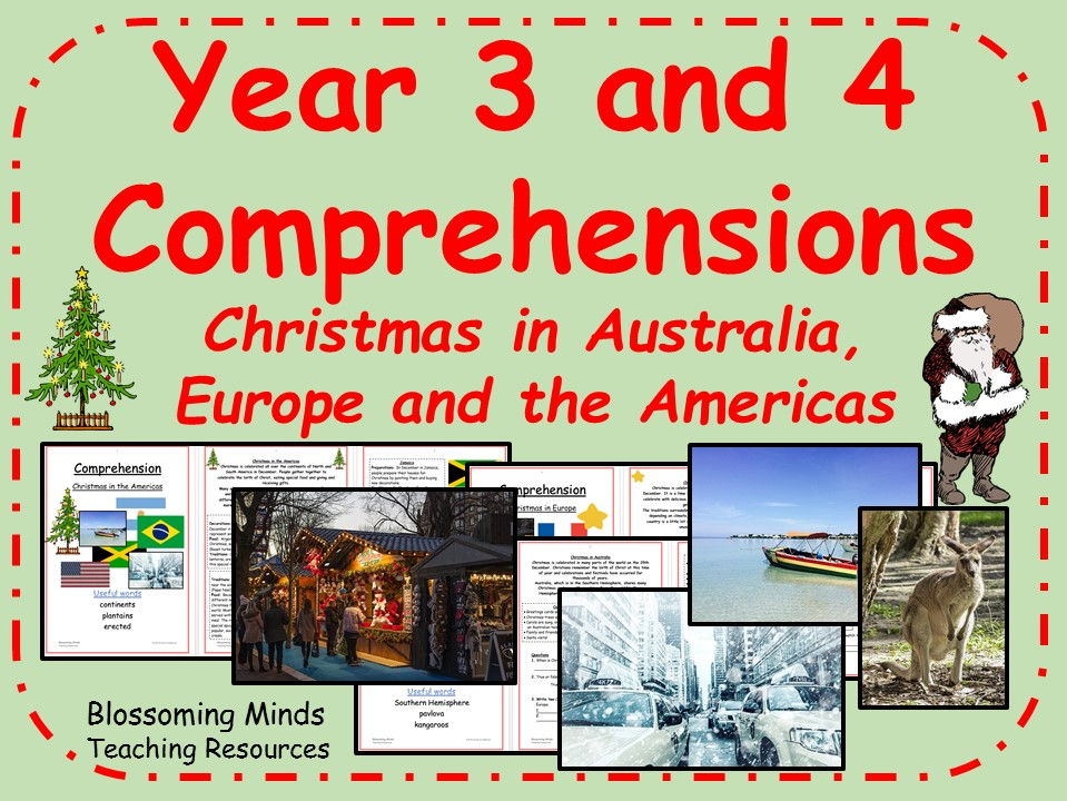 Year 3 and 4 Comprehension bundle - Christmas around the world