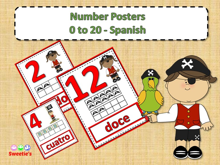 Number Posters 0 to 20 with Ten Frames - Pirate Theme - Spanish