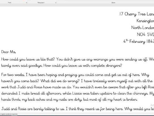 Street Child informal letter