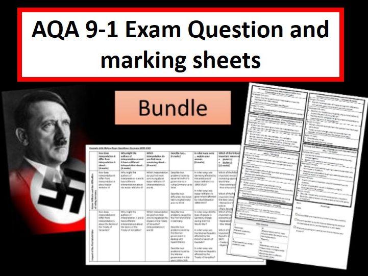 Exam Question and Marking Sheet Bundle AQA 9-1