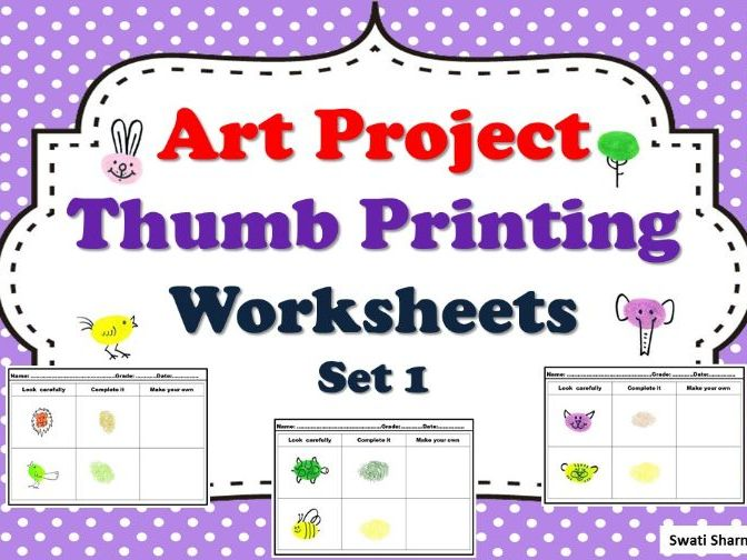 Art Project Thumb Printing, Worksheets Set 1