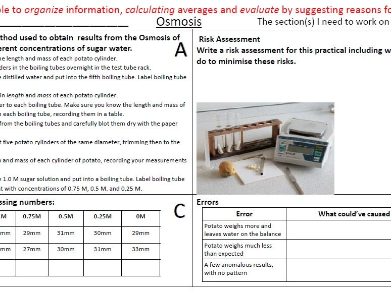 All Biology Required Practical Revision / Homework Sheets with Answers
