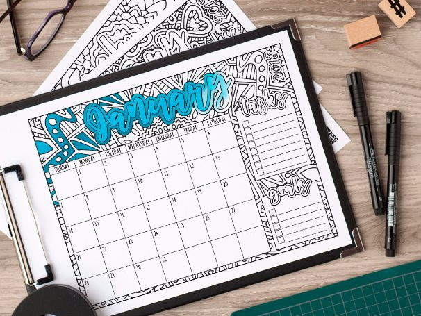 2018 Coloring Calendar - Printable PDF Calendar with both Sunday and Monday variations
