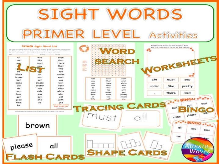 Sight Words PRIMER Games, Activities, Flash Cards, Bingo