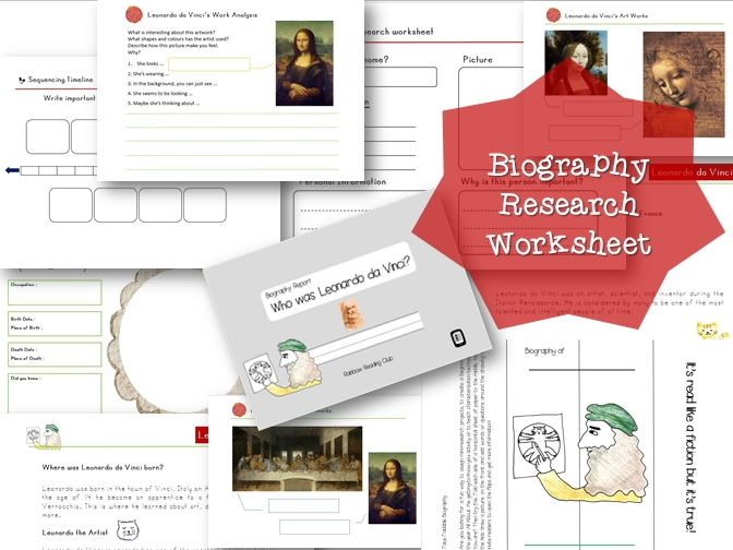 Biography Research Report / Leonardo da Vinci Biography worksheet