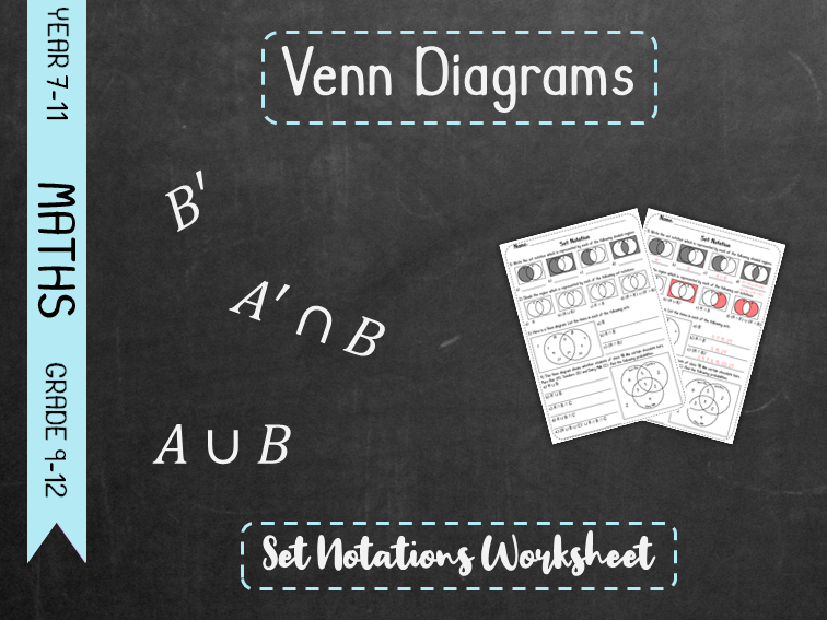 Venn Diagrams - Set Notation Worksheet