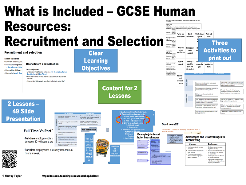 Recruitment and Selection - GCSE Business Studies - 2 Full Lessons