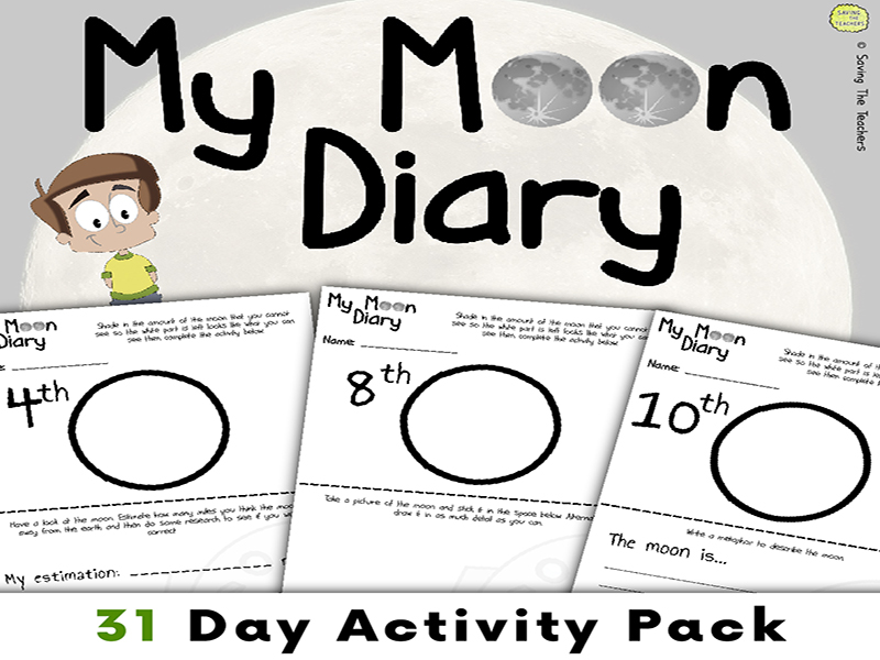 My Moon Diary Activity Pack - Earth, Sun, and Moon - Science