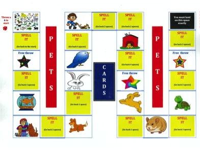 EYS / KS1 - Spelling - Pets Board Game