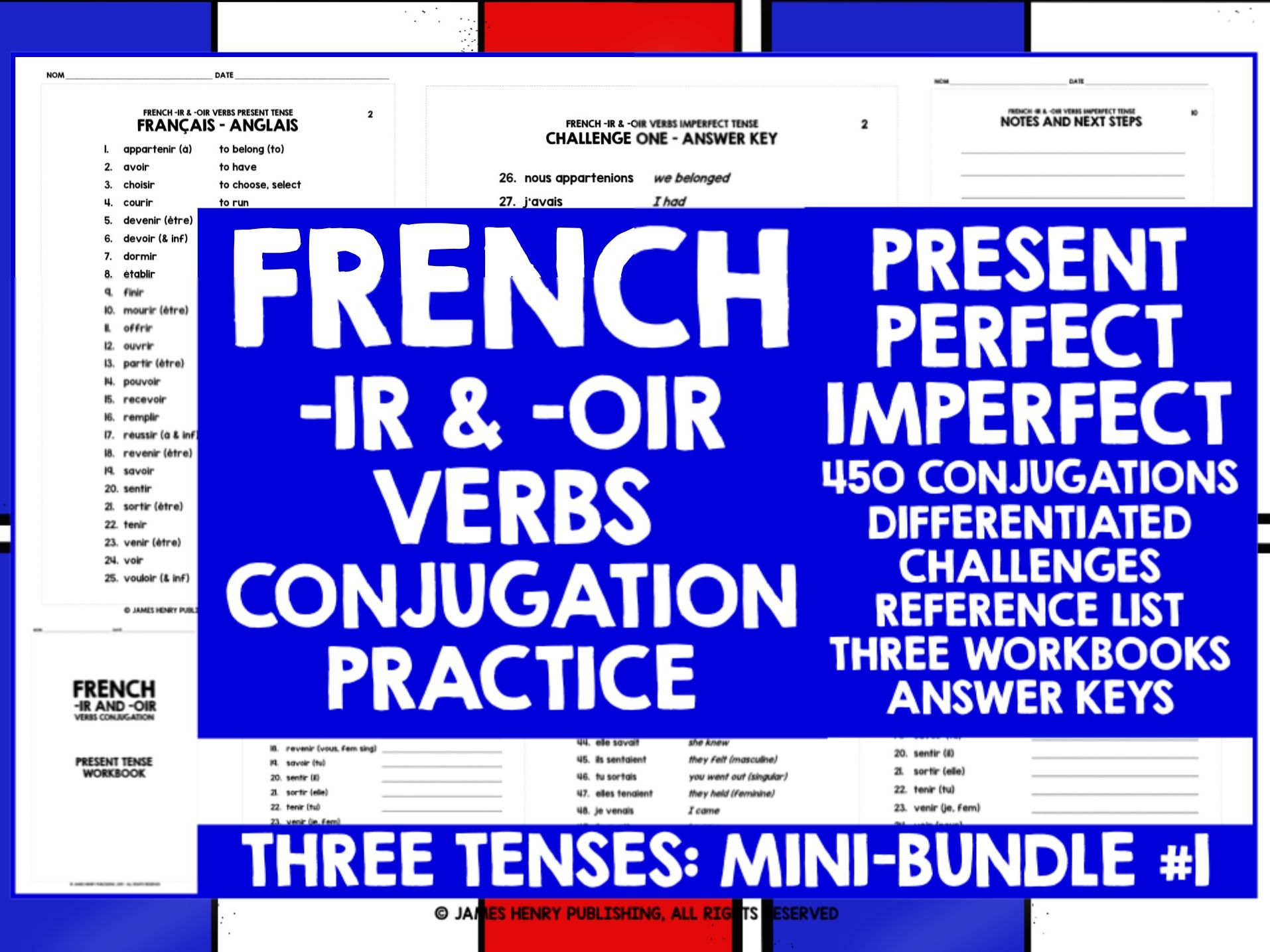 FRENCH -IR VERBS CONJUGATION MINI-BUNDLE #1