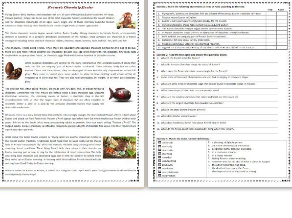 France's Chocolatey Easter - Reading Comprehension Worksheet / Text