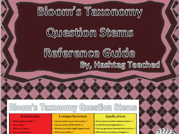Bloom's Taxonomy Question Stems Reference Guide