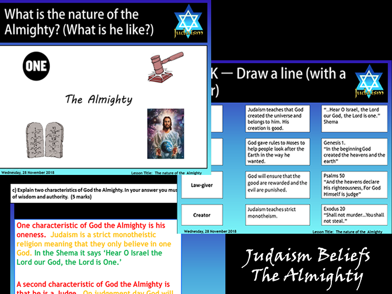 GCSE Judaism Beliefs - The Nature of the Almighty (2 Lessons)