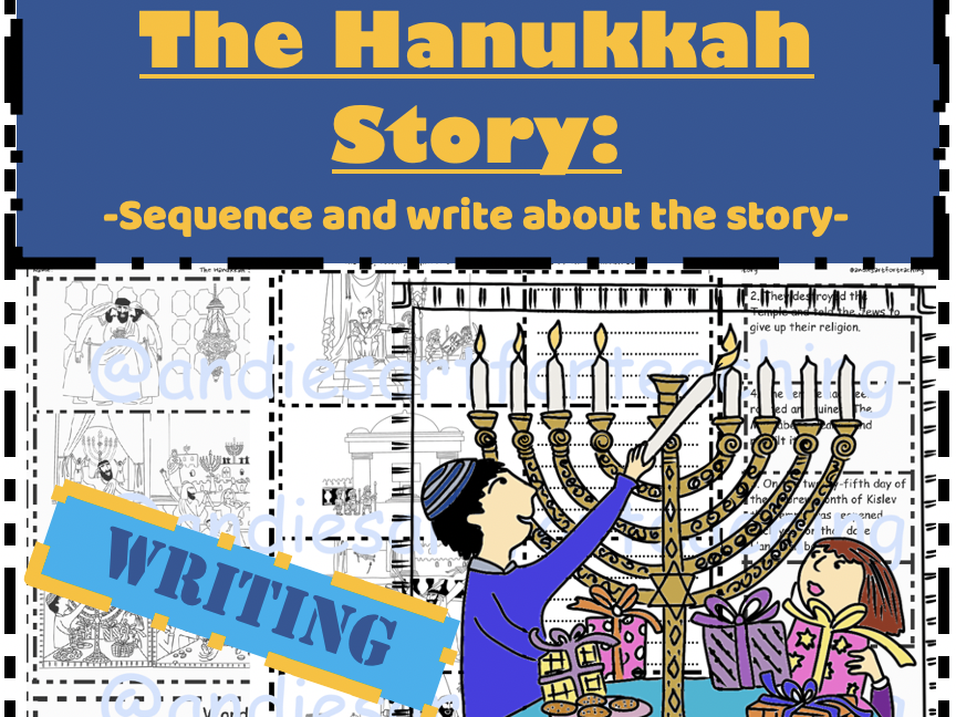 The Hanukkah story Writing task- Sequence write colour ...
