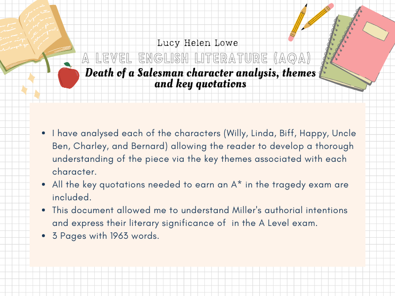 English Literature A Level AQA Death of a Salesman character analysis, themes and key quotations