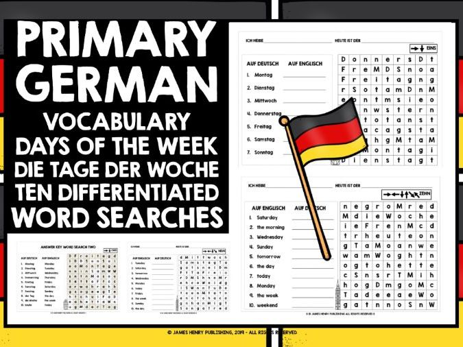 PRIMARY GERMAN DAYS OF THE WEEK WORD SEARCHES