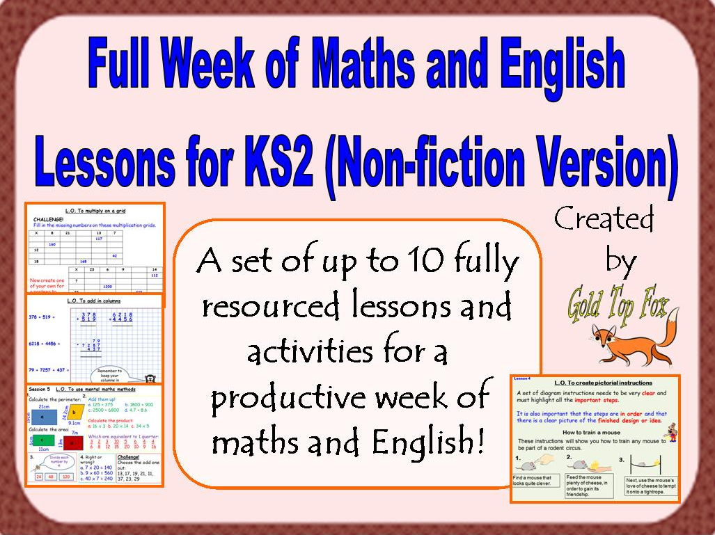 Full Week of Maths and English Lessons for KS2 (Non-fiction Version)