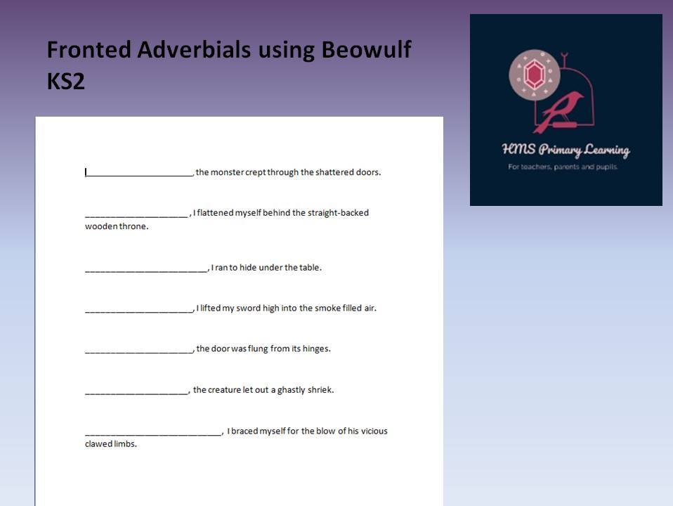 Myths and legends- Beowulf fronted adverbials