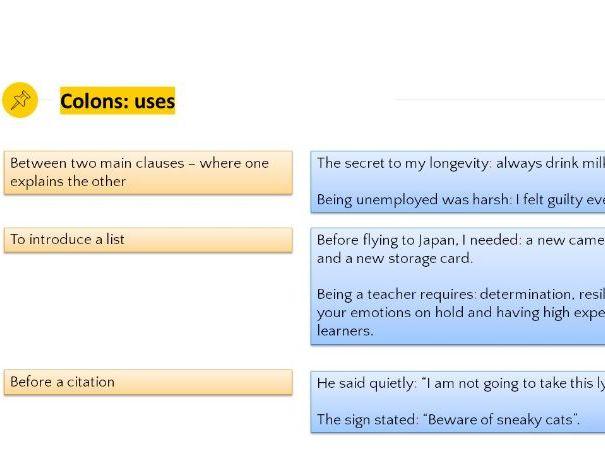 Grammar Lesson 31: Colons/semi-colons