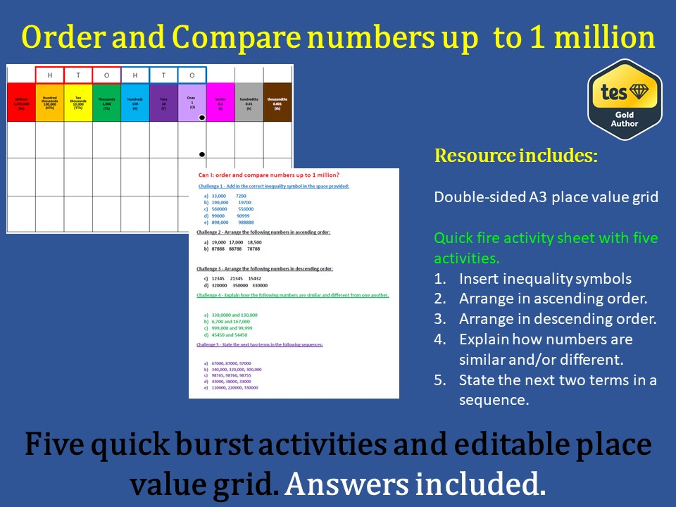 Order and compare numbers up to 1 million (including answer sheet).