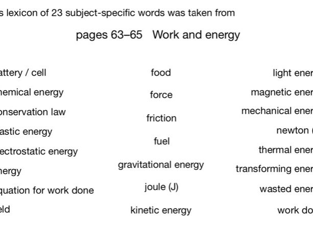 Word models for Work and Energy (CGP pp63-65)