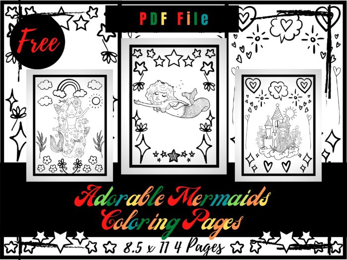 FREE Adorable Mermaids Colouring Pages For kids, Free Mermaid Colouring Sheets PDF