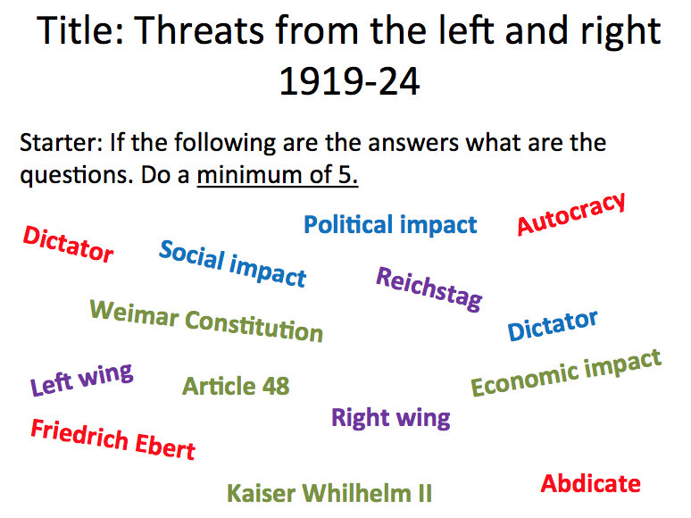 Weimar Republic - Lesson 4 Threats from the left and right