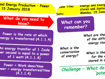 AQA Physics Unit 1 (4.1) - Energy and Energy Production Revision