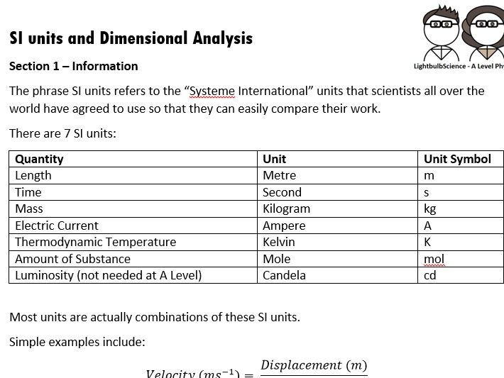 SI Units and Dimensional Analysis