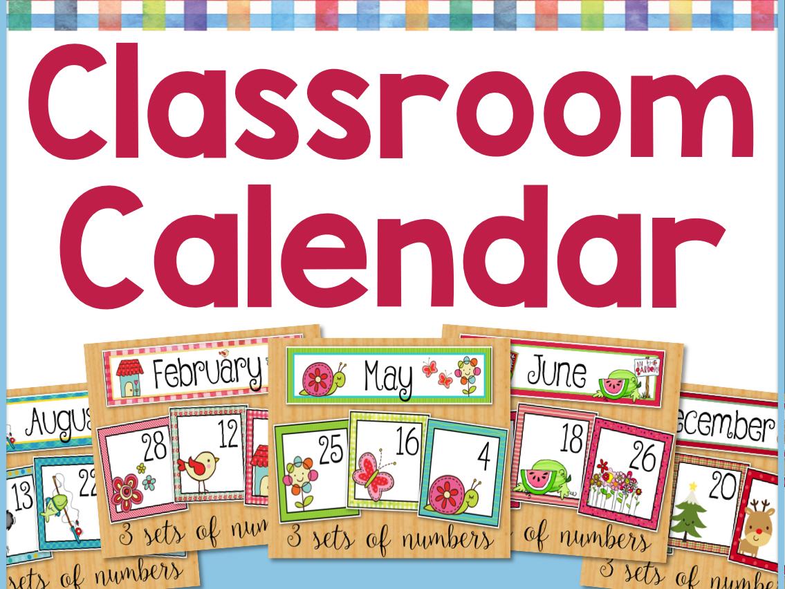 Yearly Classroom Calendar Set - All 12 Months