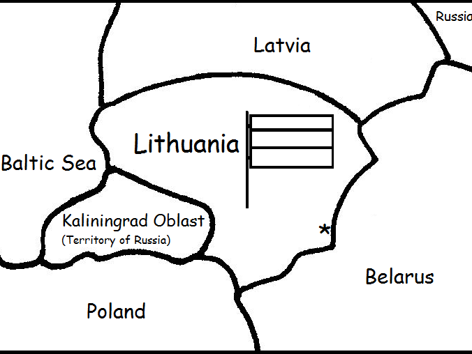 LITHUANIA - Printable handouts with map and flag